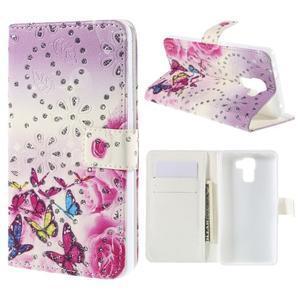 Peňaženkové puzdro s třpytivými flitry pre Huawei Honor 7 - květinoví motýlci - 1