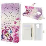 Peňaženkové puzdro s třpytivými flitry pre Huawei Honor 7 - květinoví motýlci - 1/7