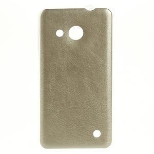 Gélový obal s jemnou koženkou na Microsoft Lumia 550 - zlatý - 1