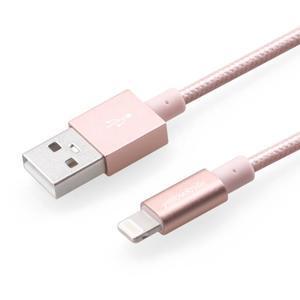 MFi prepojovací/nabíjecí kabel pre zařízení APPLE (8 pin, 1m) - rose gold - 1