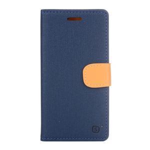 Cloth textilní/koženkové puzdro na mobil Lenovo P70 - tmavo modré - 1
