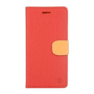 Cloth textilní/koženkové puzdro na mobil Lenovo P70 - červené - 1