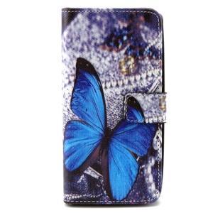 Peneženkové puzdro na mobil LG G4c - modrý motýl - 1