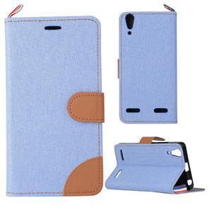 Jeans PU kožené/Textilné puzdro pre mobil Lenovo A6000 - svetlo modré - 1