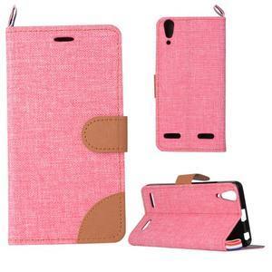 Jeans PU kožené/Textilné puzdro pre mobil Lenovo A6000 - ružové - 1