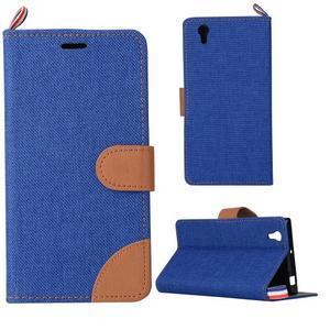Jeans PU kožené/Textilné puzdro pre mobil Lenovo P70 - tmavo modré - 1