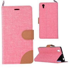 Jeans PU kožené/textilní puzdro na mobil Lenovo P70 - růžové - 1