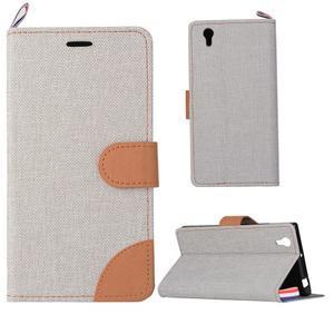 Jeans PU kožené/textilní puzdro na mobil Lenovo P70 - šedé - 1