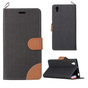 Jeans PU kožené/textilní puzdro na mobil Lenovo P70 - čierné - 1