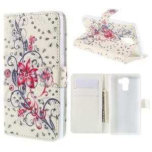 Peňaženkové puzdro s třpytivými flitry pre Huawei Honor 7 - červený květ - 1