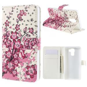 Peňaženkové puzdro s třpytivými flitry pre Huawei Honor 7 - kvetoucí větvička - 1