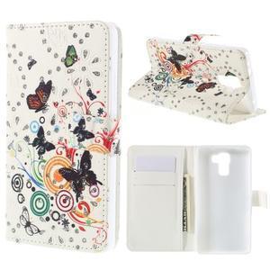 Peňaženkové puzdro s třpytivými flitry pre Huawei Honor 7 - motýlci - 1