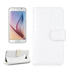 Croco motiv koženkového pouzdra pre Samsung Galaxy S6 - biele - 1