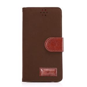 Business látkové/PU kožené puzdro na Samsung Galaxy S6 - hnedé - 1