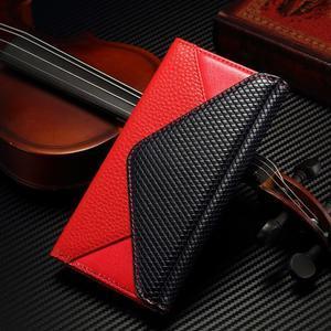 Breck peňaženkové puzdro na Samsung Galaxy S6 - červené/čierné - 1