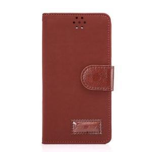 Business látkové/PU kožené puzdro na Samsung Galaxy S6 - červenohnedé - 1
