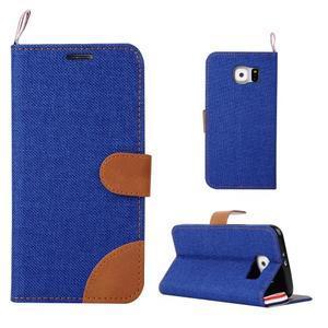 Jeans štýlové textilné/PU kožené puzdro pre Samsung Galaxy S6 - modré - 1