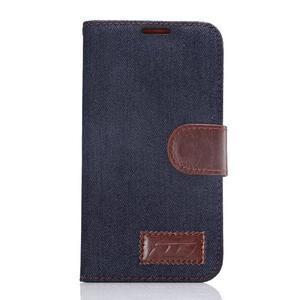 Cloth peňaženkové puzdro pre Samsung Galaxy S6 - čierné - 1