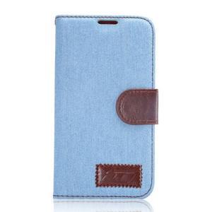 Cloth peňaženkové puzdro pre Samsung Galaxy S6 - svetlo modré - 1