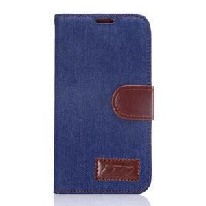 Cloth peňaženkové puzdro pre Samsung Galaxy S6 - tmavo modré - 1