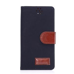 Business látkové/PU kožené puzdro na Samsung Galaxy S6 - tmavo modré - 1