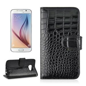 Croco motiv koženkového pouzdra na Samsung Galaxy S6 - čierné - 1