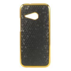Plastový kryt se zlatým lemem pre HTC One mini 2 - čierny - 1