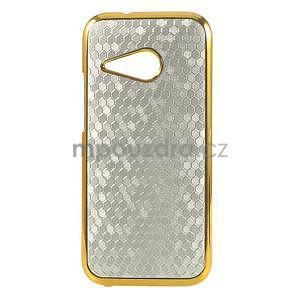 Plastový kryt se zlatým lemem pre HTC One mini 2 - strieborný - 1