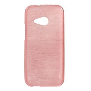 Broušený gélový obal pre HTC One mini 2 - ružový - 1