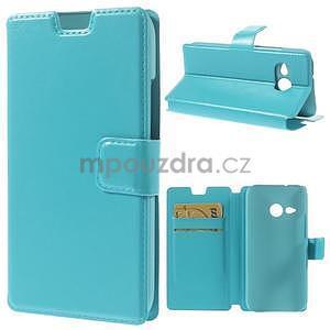 Tyrkysové peňaženkové puzdro pre HTC One mini 2 - 1