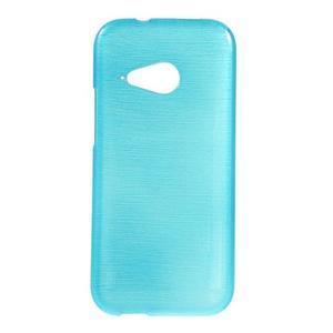 Broušený gélový obal pre HTC One mini 2 - svetlo modrý - 1