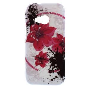 Gélový kryt pre HTC One mini 2 - červené kvetiny - 1