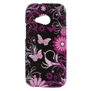 Gélový kryt na HTC One mini 2 - květiny a motýlci - 1