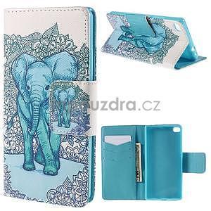Peňaženkové puzdro Huawei Ascend P8 - modrý slon - 1