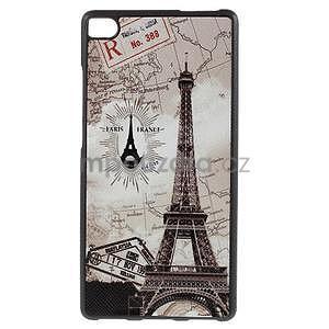 Gélový kryt s koženým chrbtom na Huawei Ascend P8 -  Eiffelova veža - 1