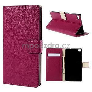 Peňaženkové kožené puzdro Huawei Ascend P8 - rose - 1