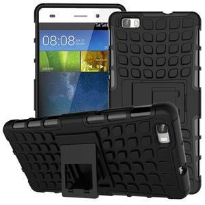 Outdoor odolný kryt 2v1 se stojánkem pro Huawei Ascend P8 Lite - černý - 1