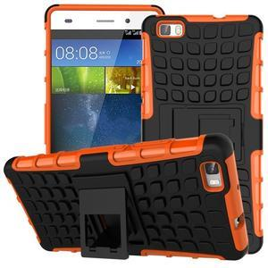 Outdoor odolný kryt 2v1 se stojánkem pro Huawei Ascend P8 Lite - oranžový - 1