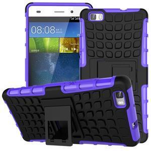 Outdoor odolný kryt 2v1 se stojánkem pro Huawei Ascend P8 Lite - fialový - 1