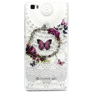 Transparentní gelový obal na Huawei Ascend P8 Lite - motýlek - 1