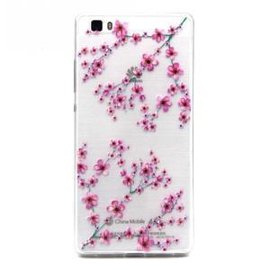 Transparentné gélový obal na Huawei Ascend P8 Lite - kvety čerešní - 1