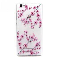 Transparentné gélový obal na Huawei Ascend P8 Lite - kvety čerešní - 1/4