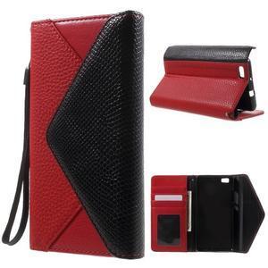 Luxusní peněženkové pouzdro na Huawei P8 Lite - červené / černé - 1
