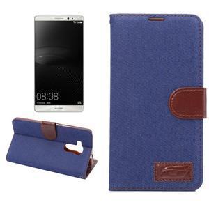 Jeans PU kožené puzdro na mobil Huawei Mate 8 - tmavomodré - 1