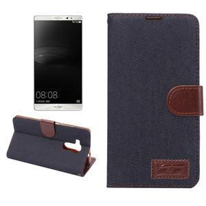 Jeans PU kožené pouzdro na mobil Huawei Mate 8 - černomodré - 1
