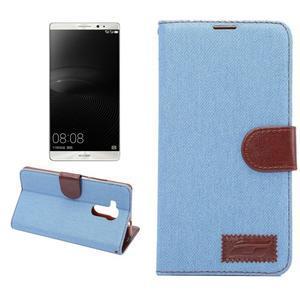Jeans PU kožené pouzdro na mobil Huawei Mate 8 - světlemodré - 1