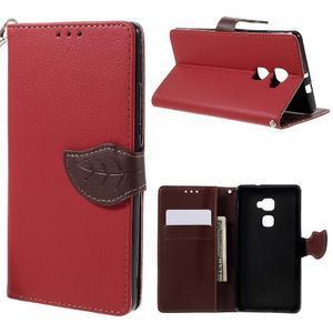 Knižkové PU kožené puzdro na mobil Huawei Mate S - červené - 1