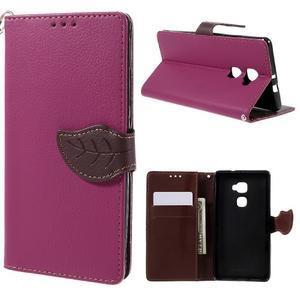 Knižkové PU kožené puzdro na mobil Huawei Mate S - rose - 1