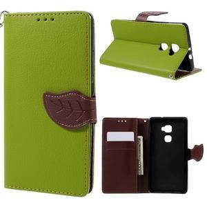 Knížkové PU kožené pouzdro na mobil Huawei Mate S - zelené - 1