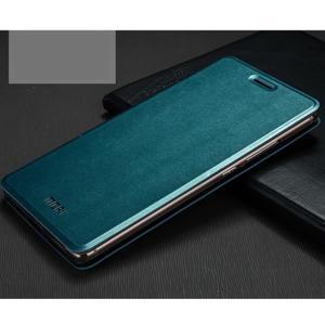Vintage PU kožené puzdro s kovovou výstuhou na Huawei Mate S - modré - 1